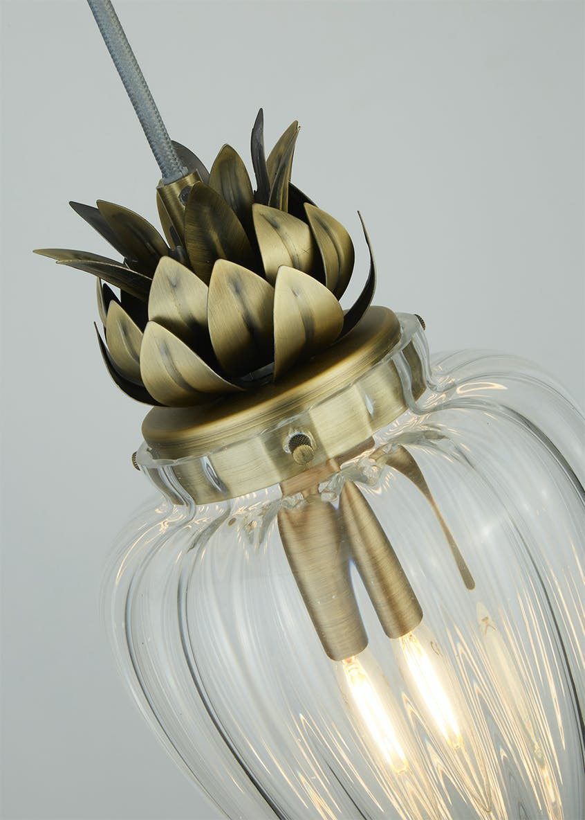 Pineapple Glass Pendant Light (H130cm x W16cm)