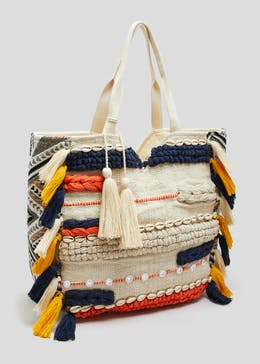 Shell Tassel Textured Beach Bag