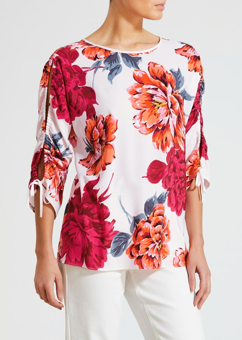 Soon Floral Tie Sleeve Top