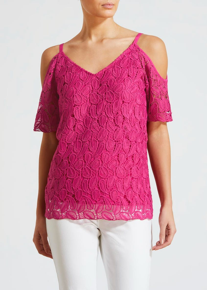 Soon Leaf Lace Cold Shoulder Top