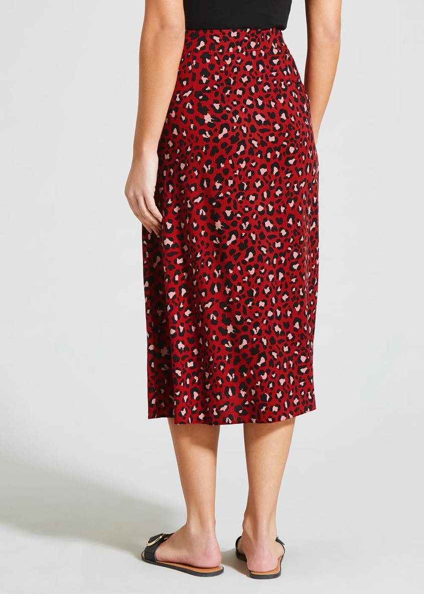 Animal Print Button Front Midi Skirt