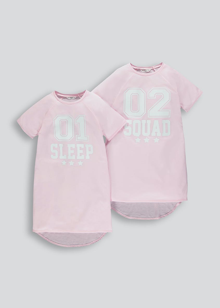 Girls Candy Couture 2 Pack Sleep Squad Nighties (9-16yrs)