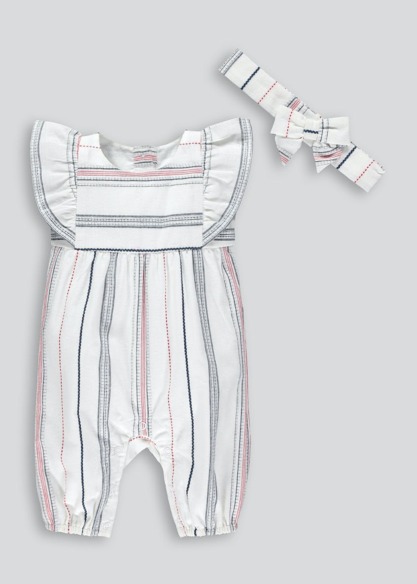 Girls Stripe Romper & Headband Set (Tiny Baby-18mths)