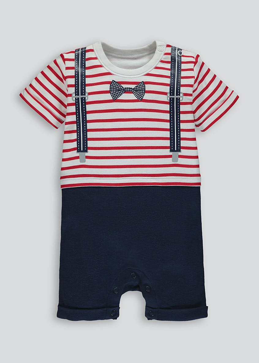 Unisex Mock Braces & Bow Tie Shortie Romper (Newborn-18mths)