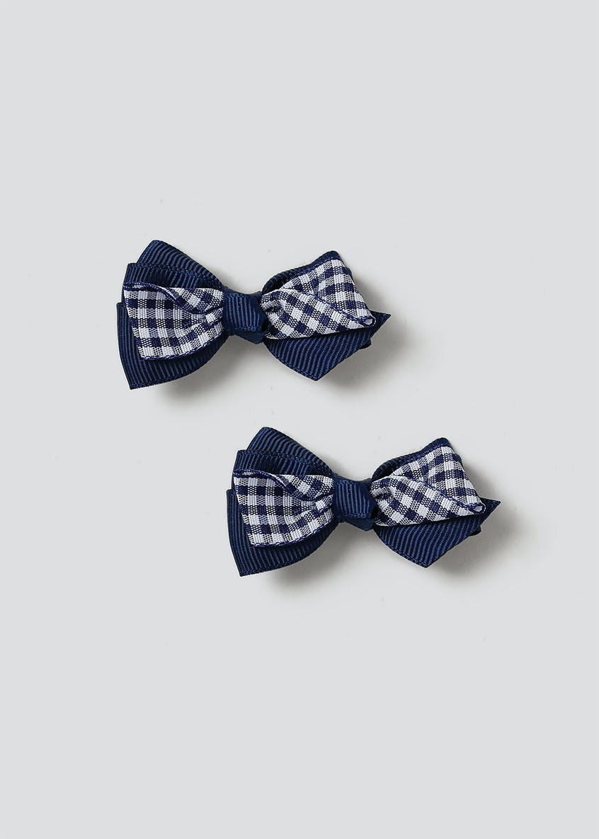 Gingham Bow Hair Clips