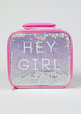 Hey Girl Slogan Lunch Bag (23cm x 21cm x 9cm)