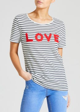 d193c327cee Stripe Love Slogan T-Shirt