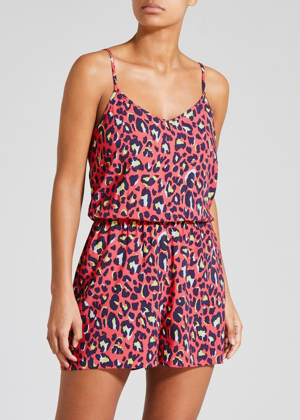 get cheap pretty and colorful special section Animal Print Viscose Playsuit
