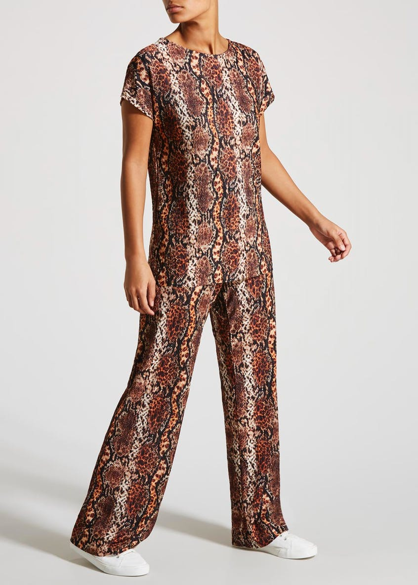 Animal Print Plisse Co-Ord Wide Leg Trousers
