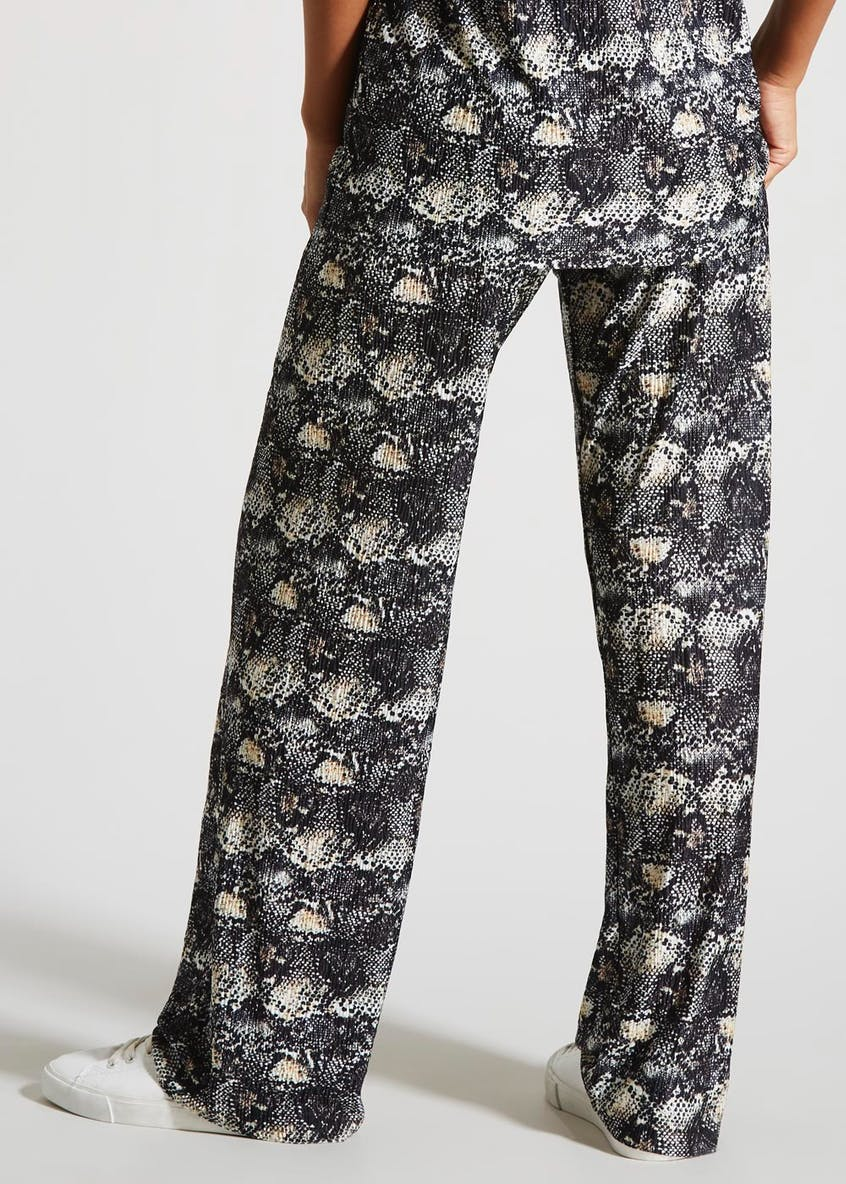 Snake Print Plisse Co-Ord Wide Leg Trousers