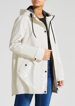 High Shine Hooded Rain Mac