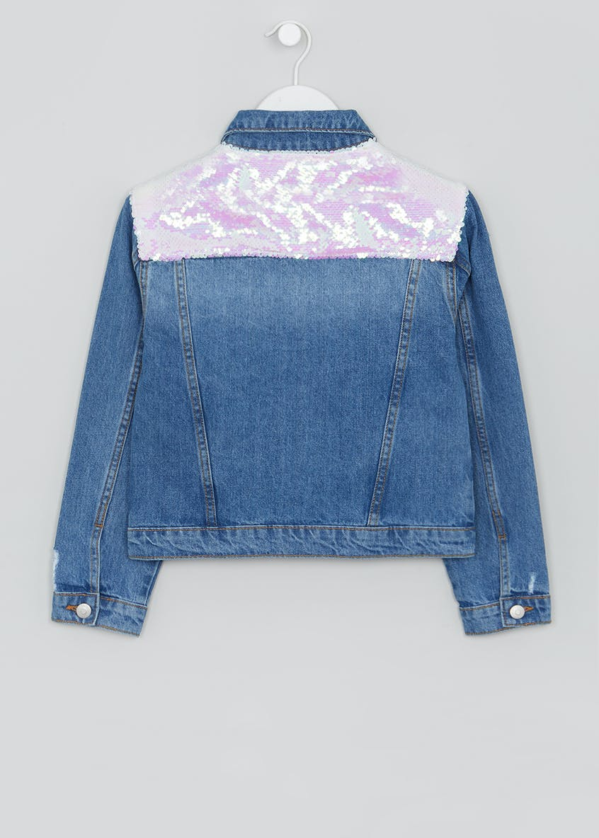 Girls Candy Couture Two Tone Sequin Denim Jacket (9-16yrs)