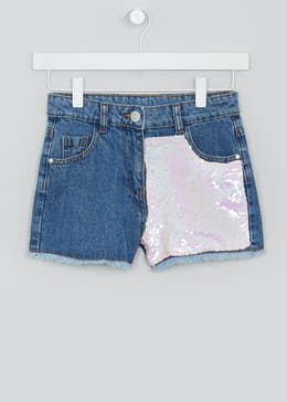 Girls Candy Couture Sequin Denim Shorts (9-16yrs)