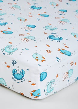 Kids 100% Cotton Sea Animals Fitted Sheet