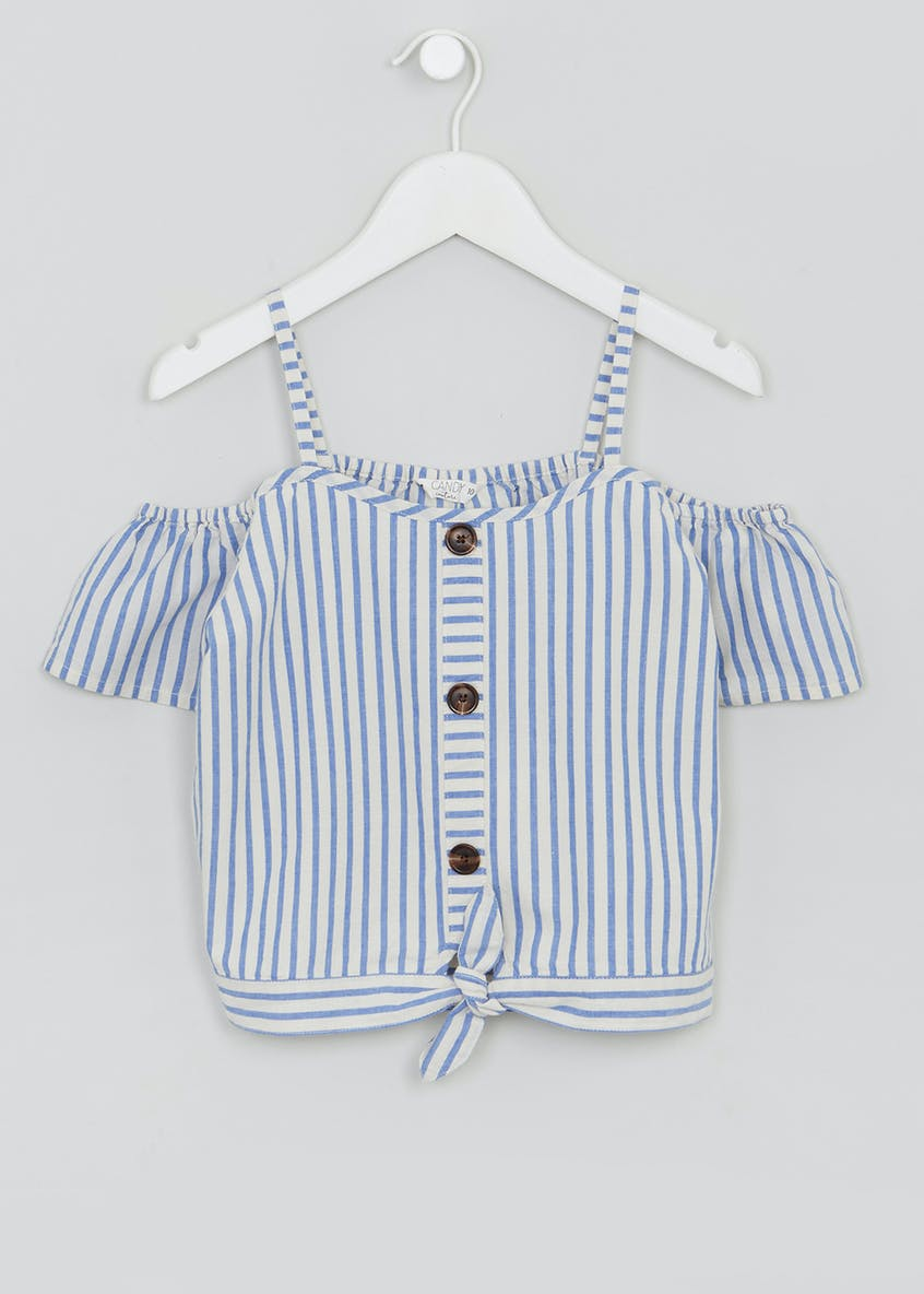 Girls Candy Couture Button Up Bardot Top (9-16yrs)
