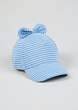Girls Stripe Bow Canvas Cap (6mths-4yrs) 8d062a25626a