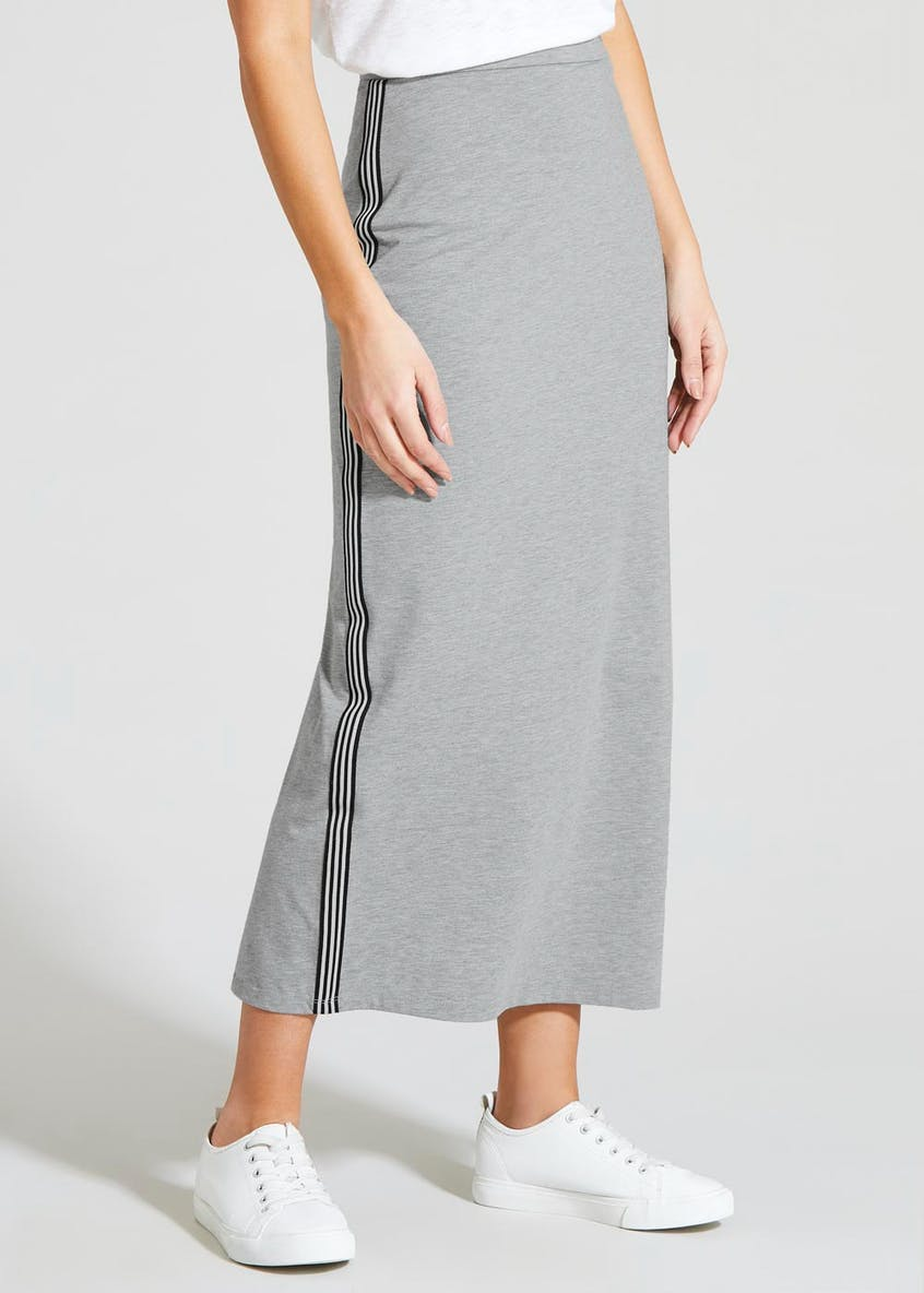 Side Stripe Jersey Maxi Skirt