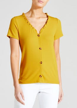 Ribbed Ruffle Button Top