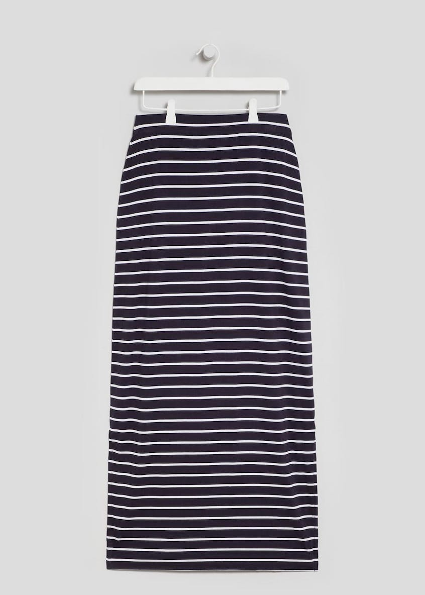 Stripe Split Jersey Maxi Skirt