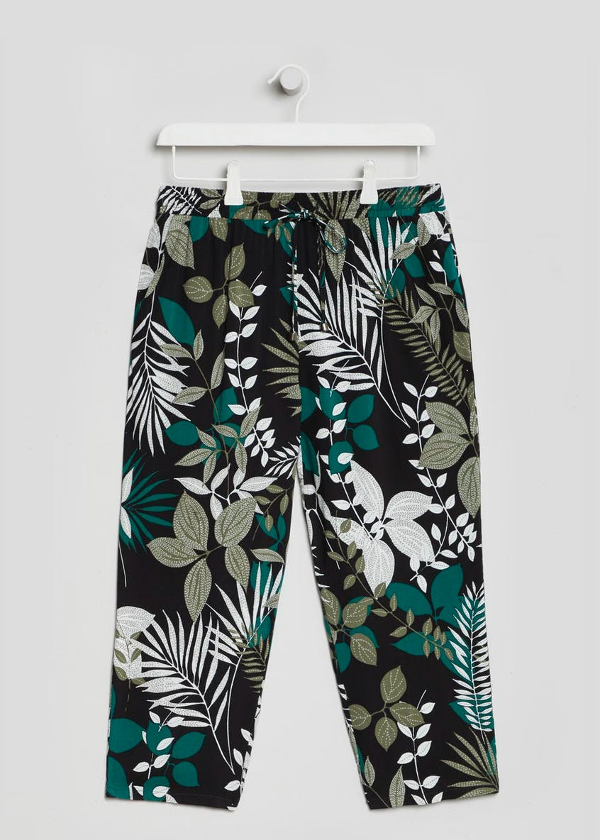 Leaf Print Viscose Cropped Trousers