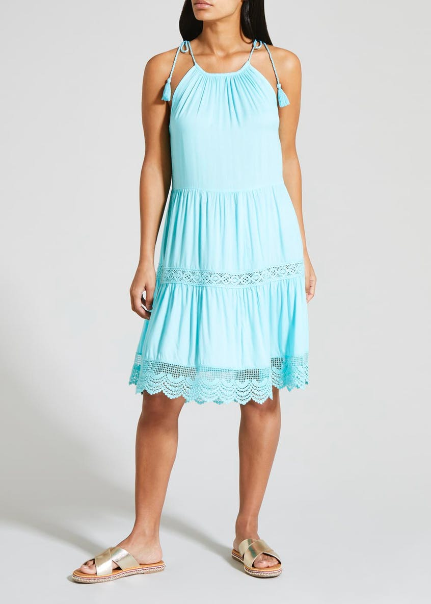 Tiered Crochet Trim Dress