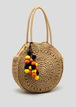 Pom Pom Straw Circle Bag