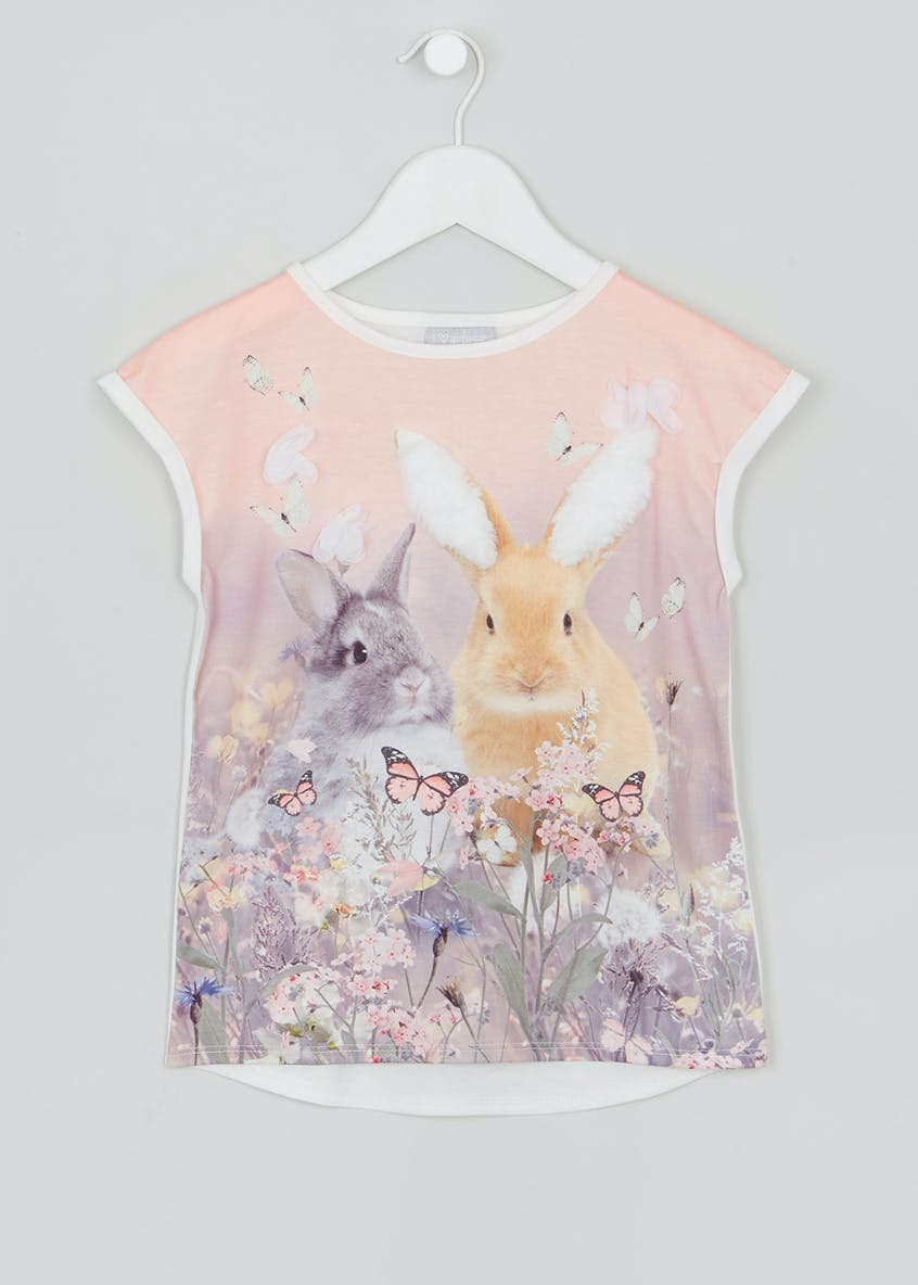 Girls Bunny Print T-Shirt (4-13yrs)
