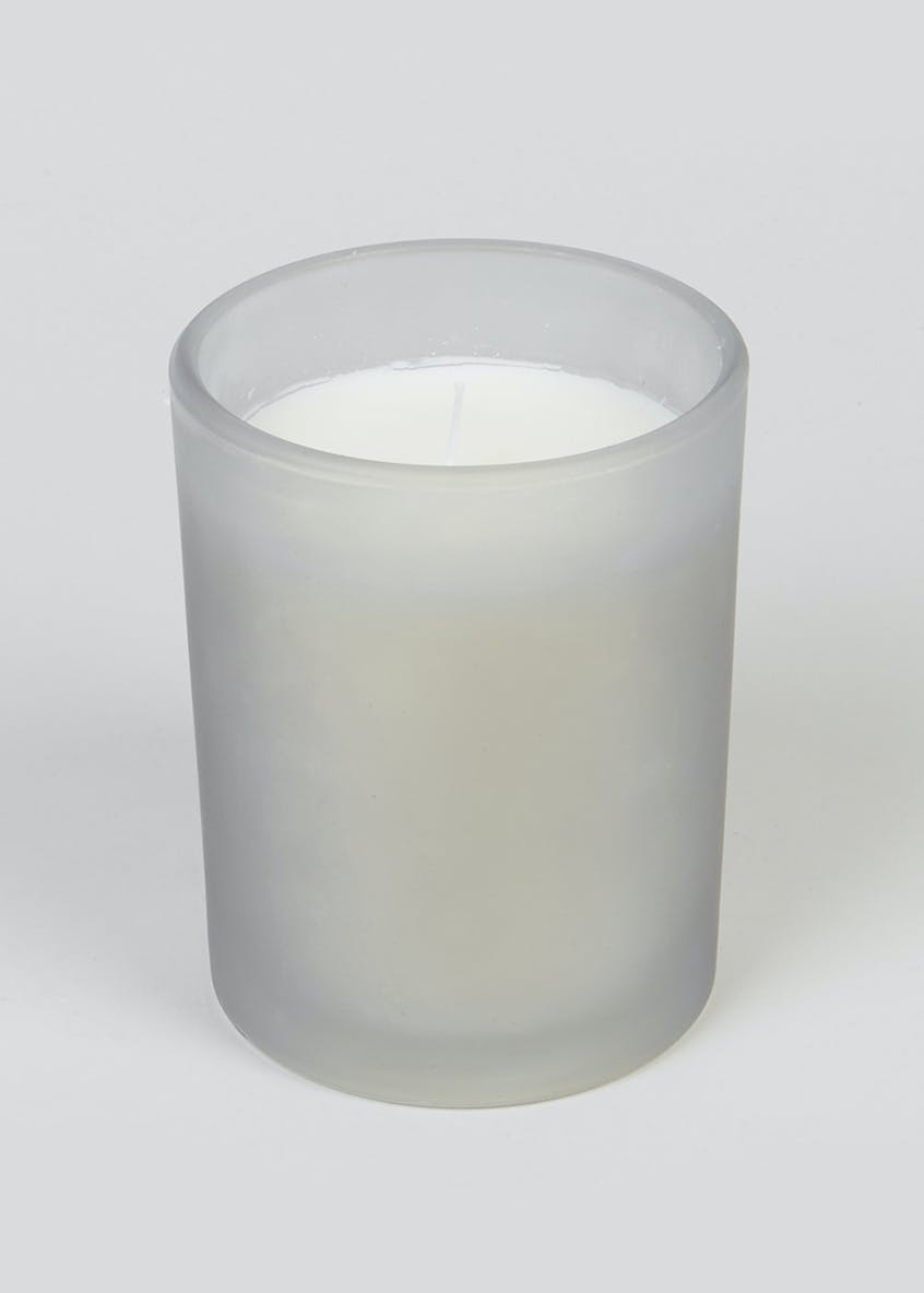 Warm Woods & Musk Frosted Candle (10cm x 8cm x 8cm)