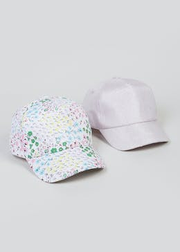 6c81bc35c04 Kids 2 Pack Floral Shimmer Caps (3-13yrs)