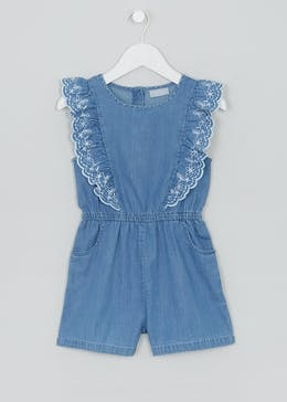 37227760c4c6 Girls Mini Me Denim Embroidered Playsuit (5-10yrs)