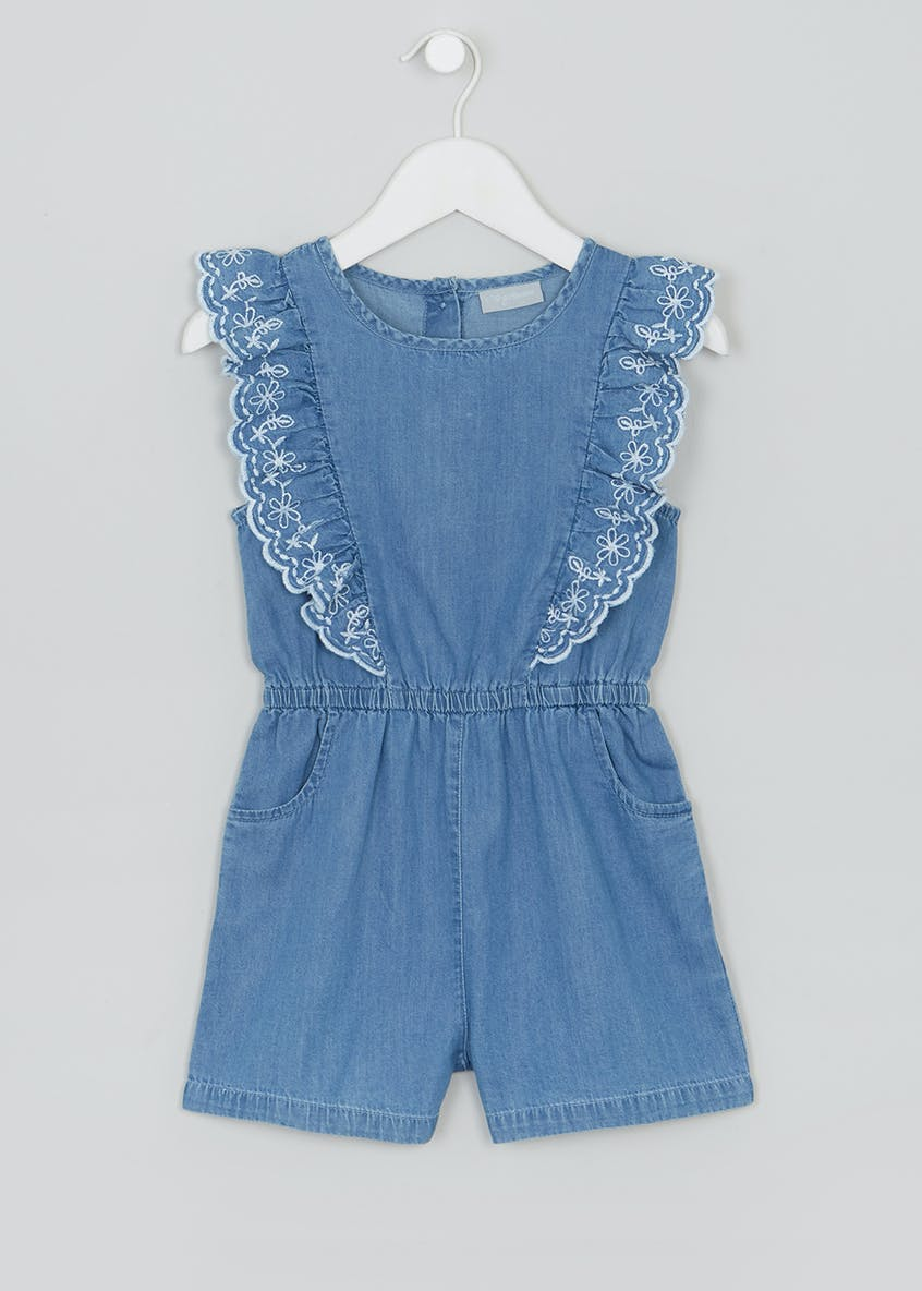 Girls Mini Me Denim Embroidered Playsuit (5-10yrs)