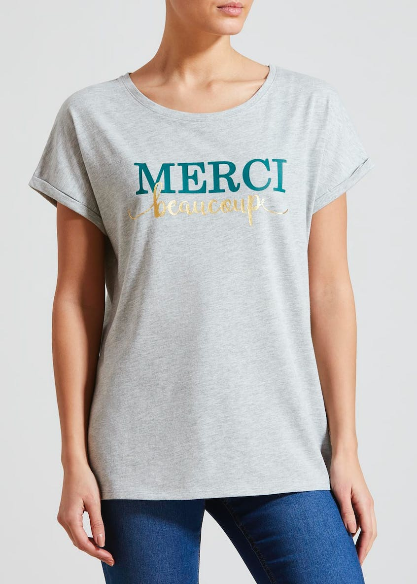 Merci Slogan T-Shirt