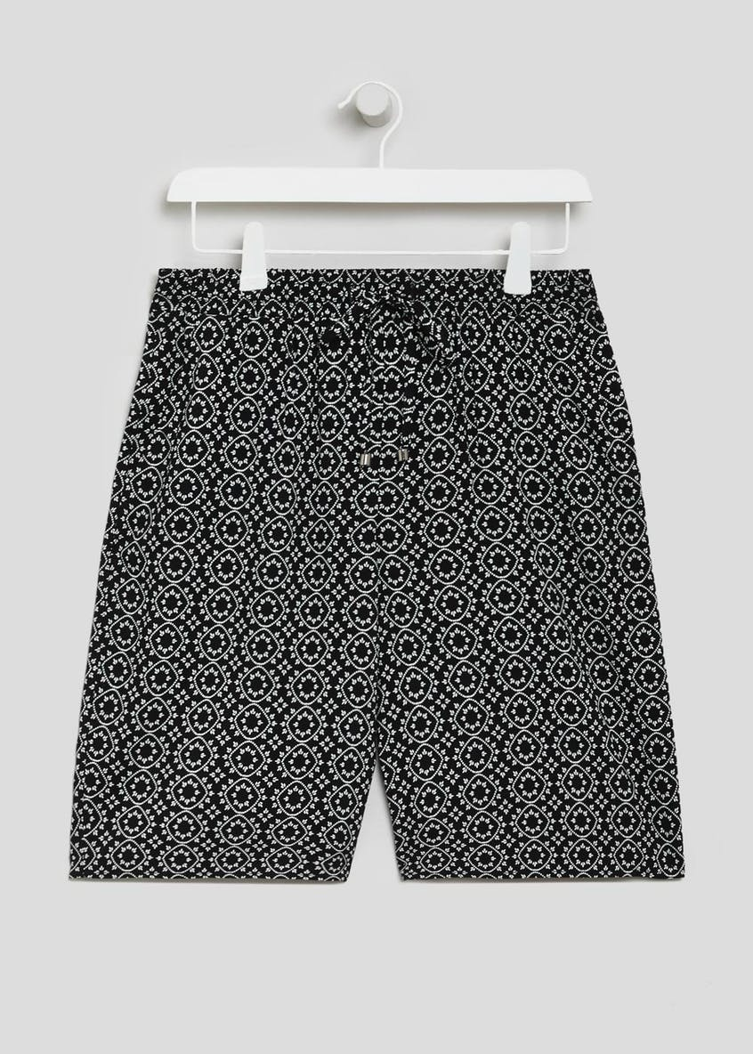 Tile Print Viscose Knee Length Bermuda Shorts