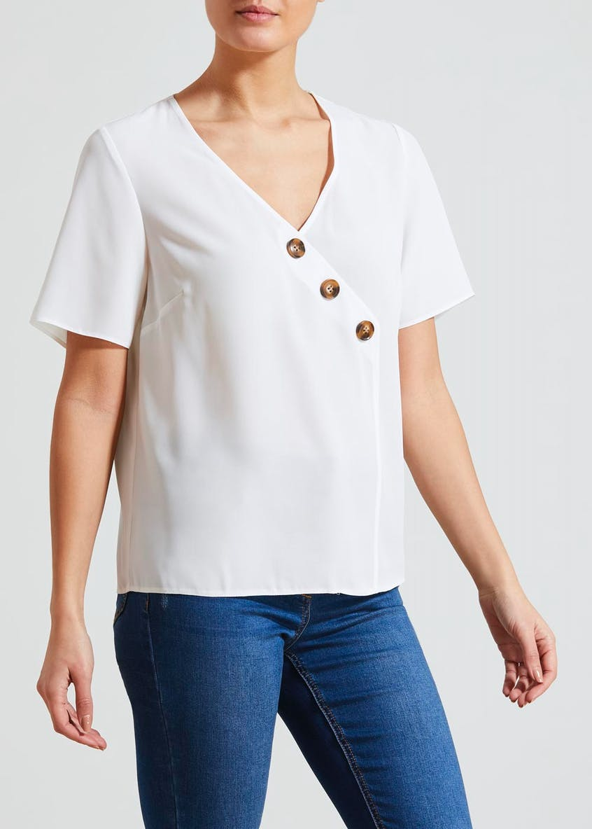 Asymmetric Button Front Blouse