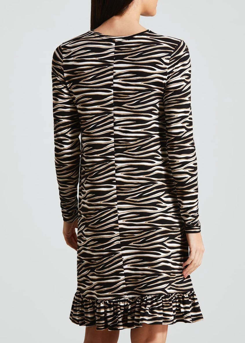 Zebra Print Peplum Hem Jersey Dress