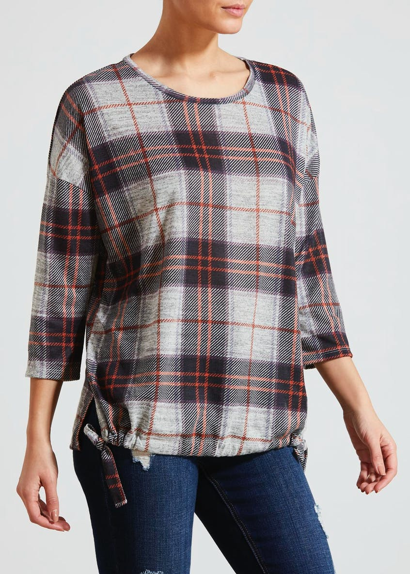 Check Print Ruched Snit Top