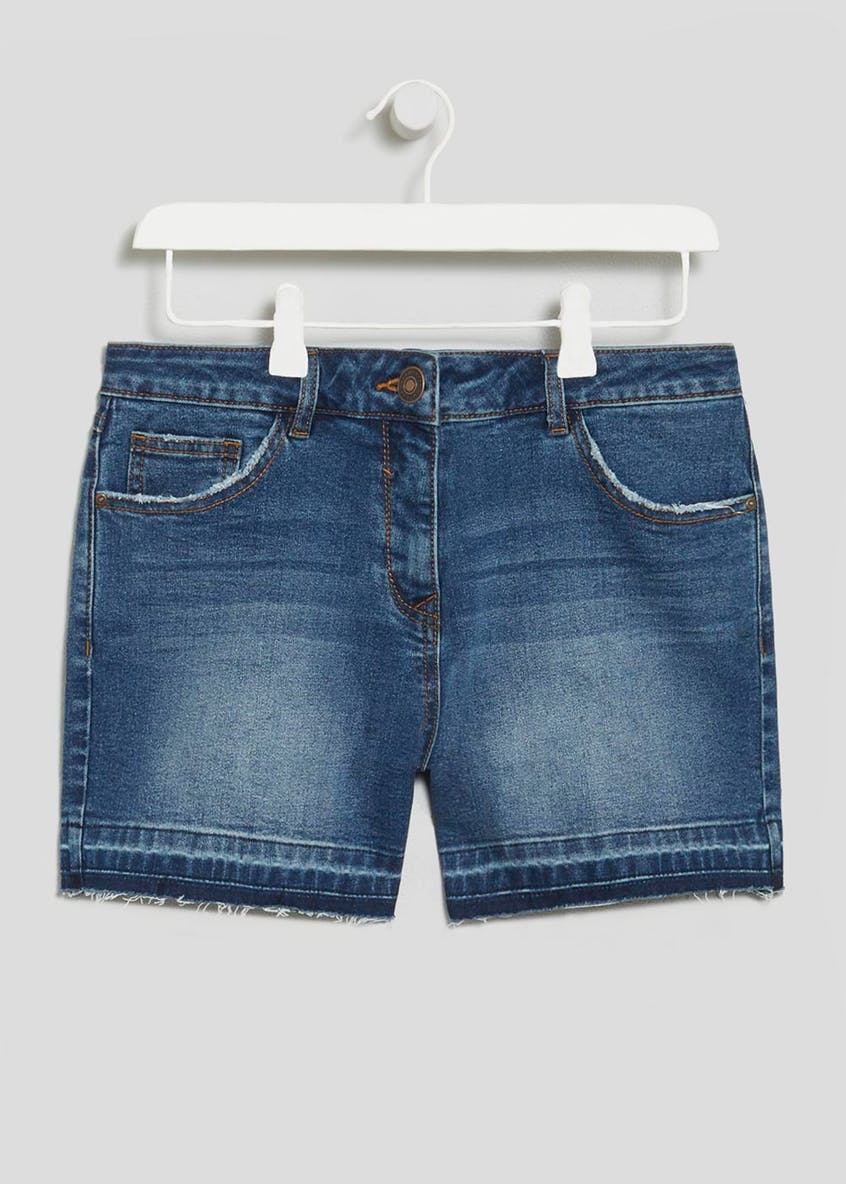 Mid Length Stretch Denim Shorts