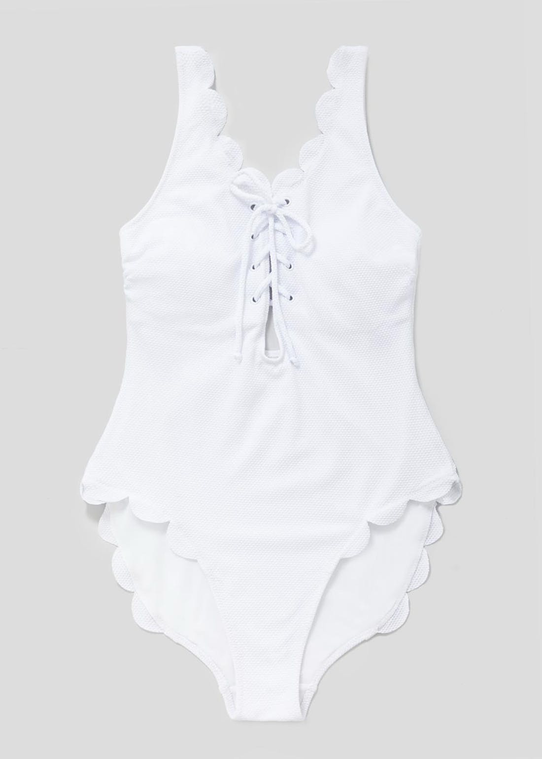 Scalloped Lace-Up Swimsuit