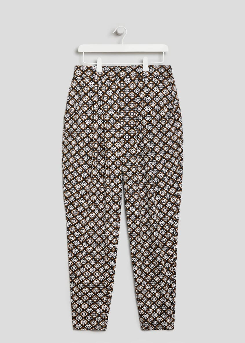 Papaya Curve Tile Print Harem Trousers