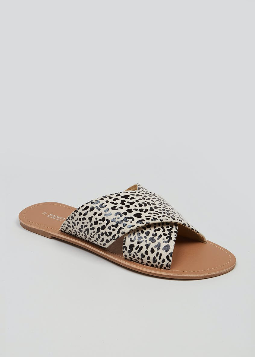 Animal Print Cross Strap Flat Mule Sandals