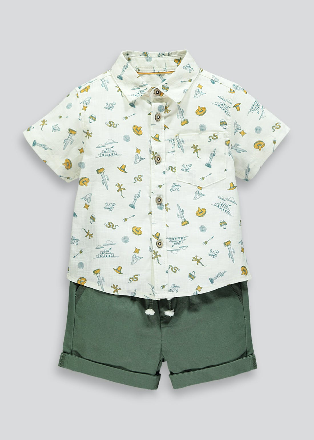 Boys Cowboy Printed Shirt & Shorts Set (9mths-6yrs)