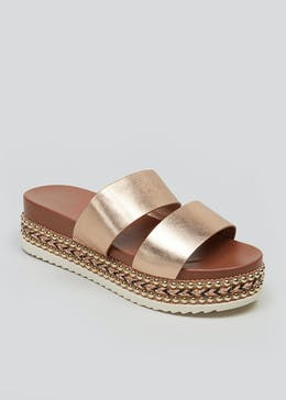 Double Strap Beaded Flatform Sandals