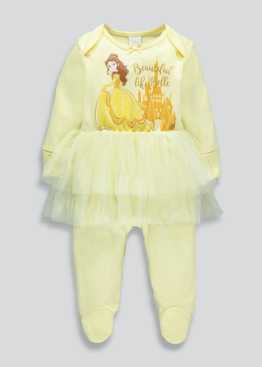 Girls Disney Princess Belle Baby Grow (Newborn-12mths)