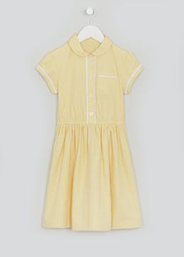 Girls Traditional Yellow Gingham Short Sleeve School Dress (3-14yrs)