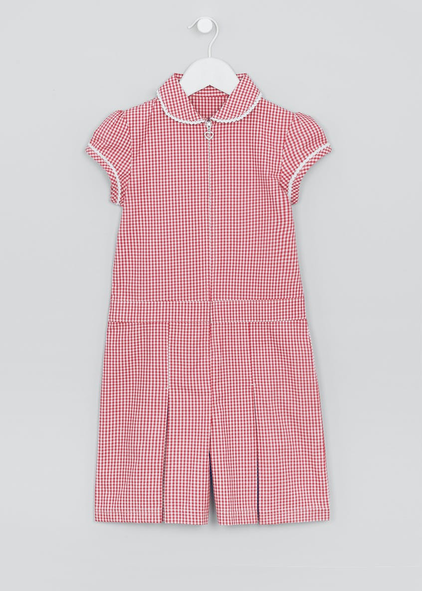 Girls Short Sleeve Gingham School Playsuit (4-13yrs)