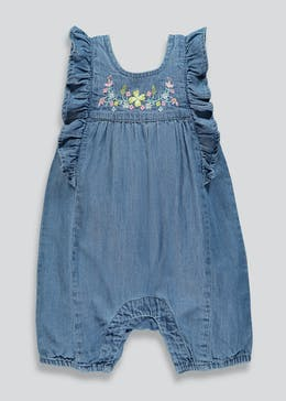 Girls Floral Embroidered Denim Dungarees (Newborn-18mths)