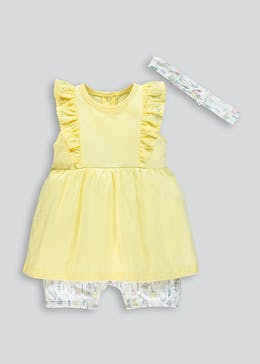 6d1e69284bf6 Girls Mock Romper   Headband (Tiny Baby-23mths)