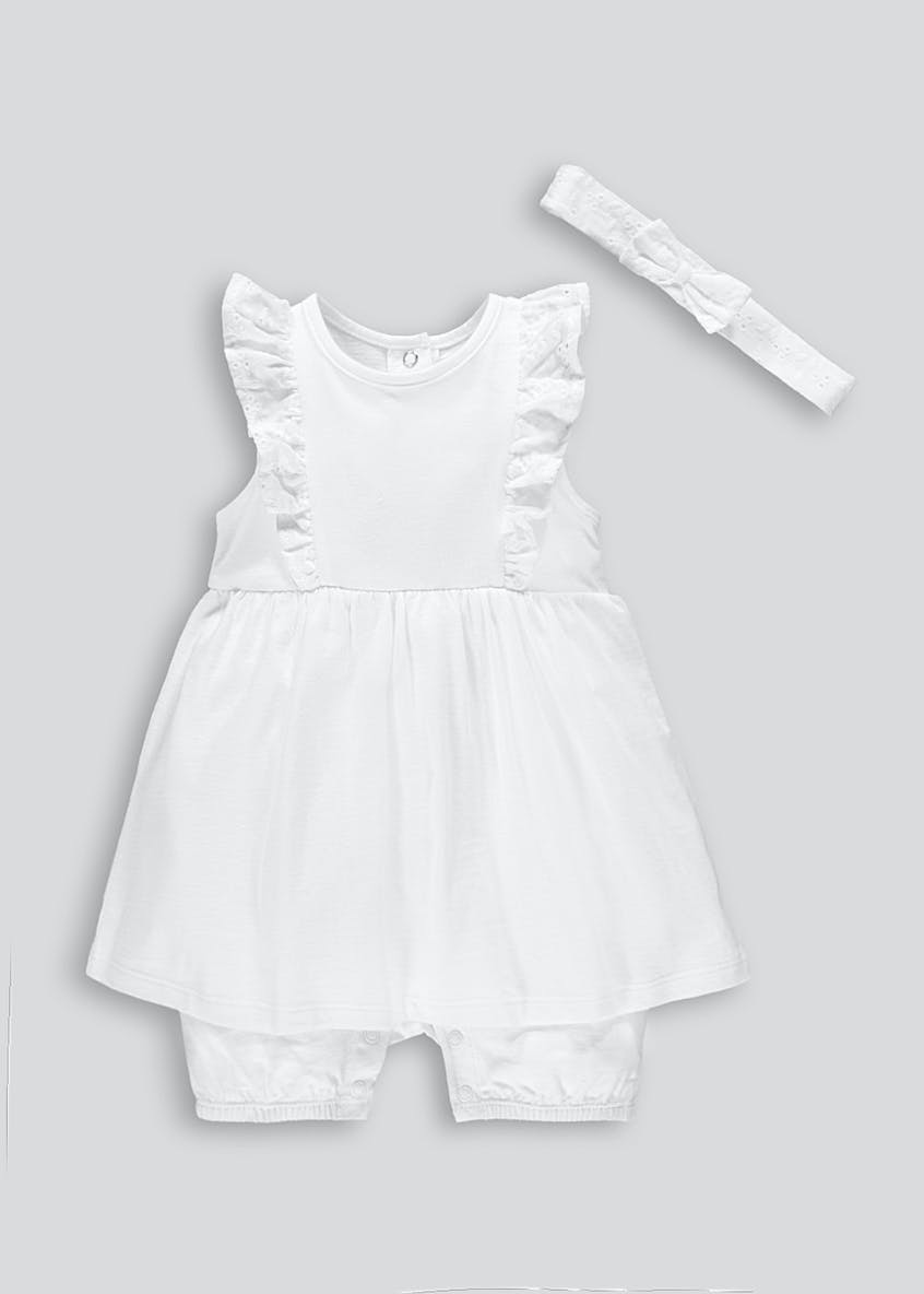 Girls Mock Romper & Headband Set (Tiny Baby-23mths)