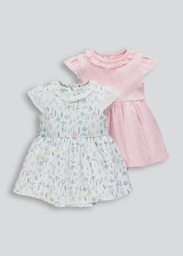 Girls 2 Pack Dress Bodysuits (Tiny Baby-23mths)