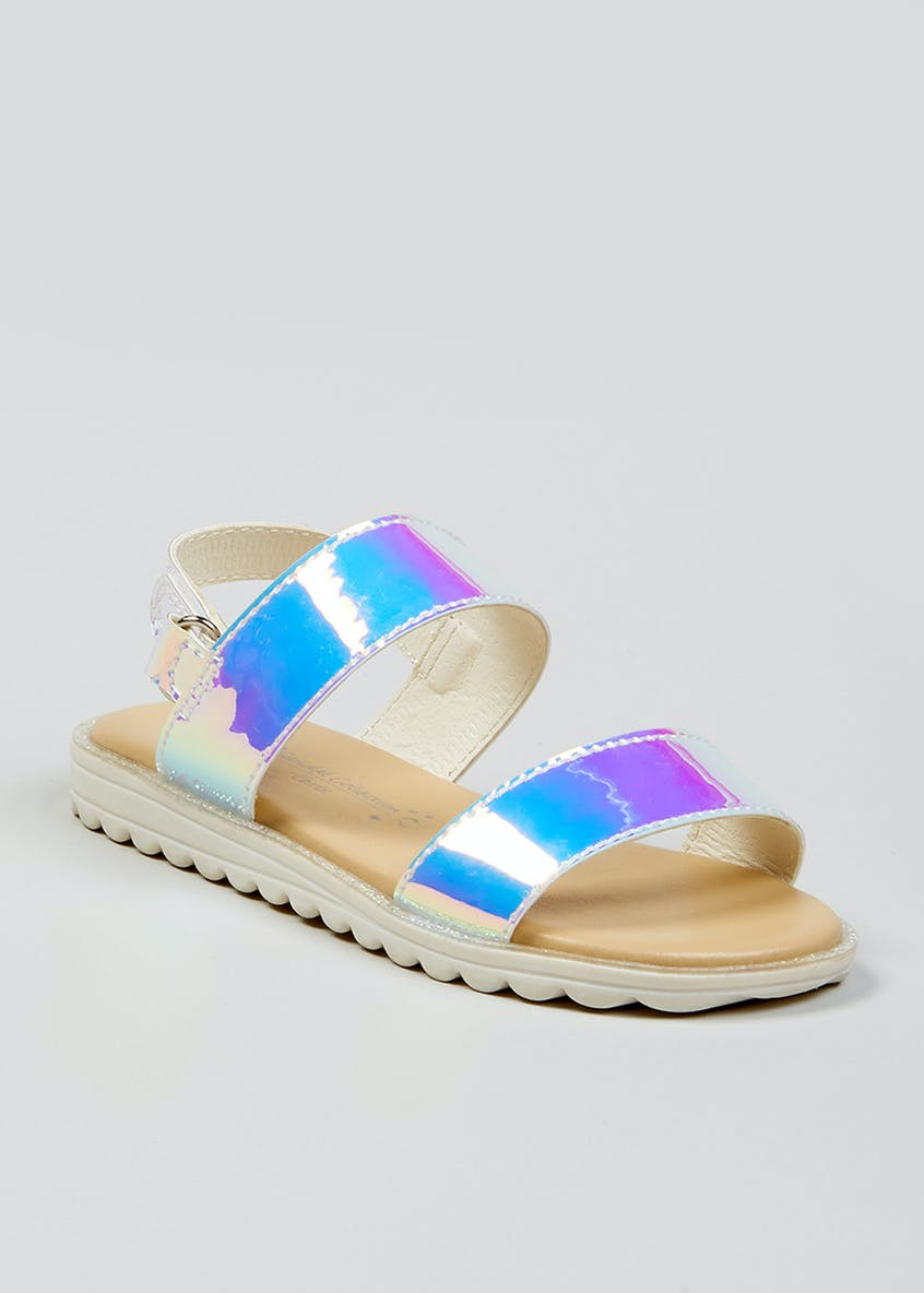 Girls Iridescent Strap Sandals (Younger 4-12)